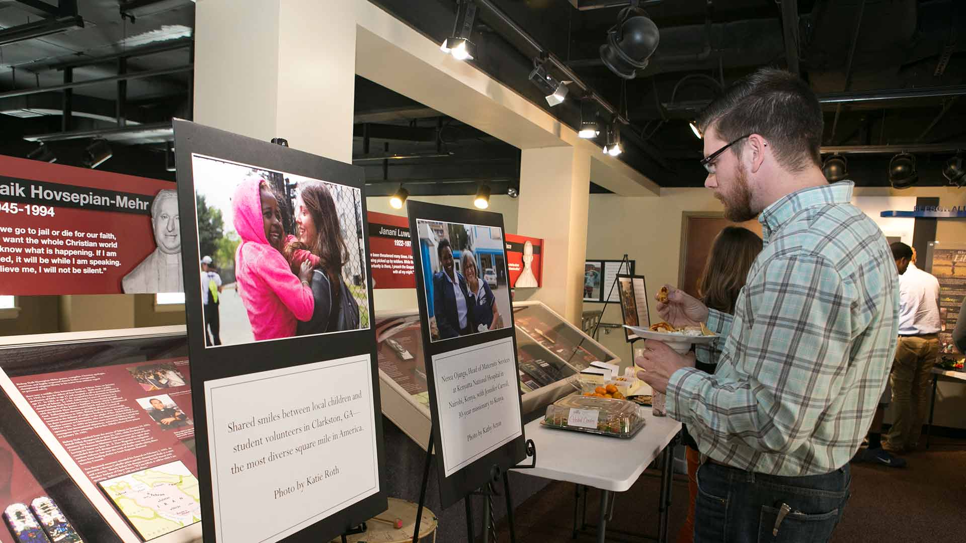 male student visiting missiography exhibit